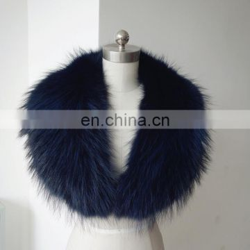 Super big luxury fur collar accessory real raccoon fur collar for lady coat