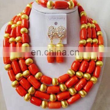 African jewelry set women fashion wedding coral beads necklace wedding wear design accessories handmade jewlery set