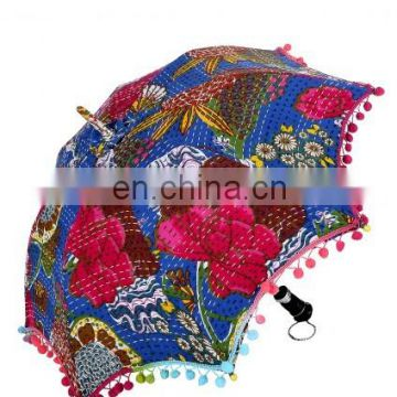 Handmade Protector Parasol Indian Floral Fruit Printed Kantha Work Embroidered Sun Unisex Cotton Vintage Decor Umbrella Ethnic