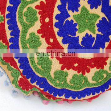 Embroidered Suzani Cushion Cover Handmade Round Pouf Cover Cotton Pillow Case