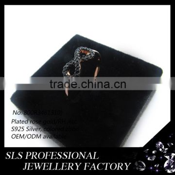 Hot Promotional black Gold Plated Fashion girls rings for Christmas Tree Of Life Silver ring