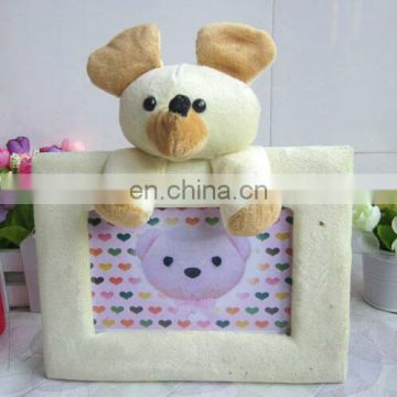 Custom lovely plush animal picture frame 6 inches size Cute photo frame with animal head