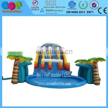 Funny Inflatable water slide with swimming pool