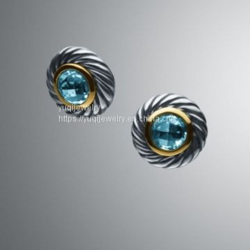 Gold Plated 925 Silver BlueTopaz Color Classics Earrings(E-018)