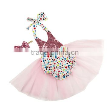 2016 New Arrival Brand Baby Products , Colorful Sequin Baby Romper With Sweet Color Tulle, Fashion Girls Children Clothing