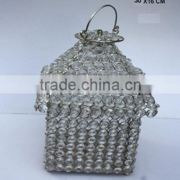 Glass Diamond Lantern with in nickel finish