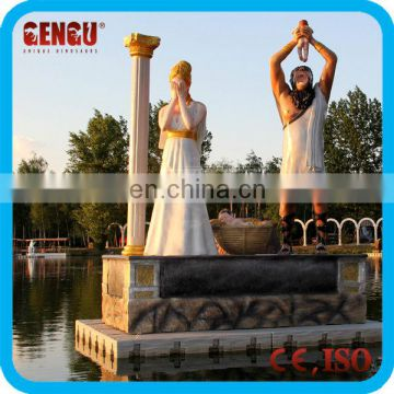 Outdoor water park statues of cronus and rhea