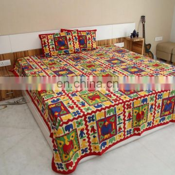 Elpehant with 2 pillow cover Bed sheet Kantha Work Embroidered King Jaipuri traditional double bed spread /bed cover Decor art