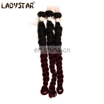 hengyuan Ladystar human hair extension 3pcs brazilian hair bundles loose wave 1b/99J ombre hair extension