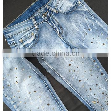 2016 Autumn Fashion Women New Style Jean Pants Ladies Rhinestone Sequined Grinding Fancy Skinny Latest Design Jeans Pent