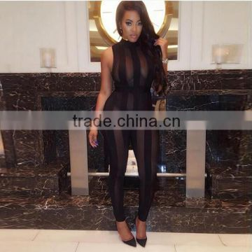 Summer Fashion Women Sexy Night Club Wear Ladies See Through Striped Black Skin Tight One Piece Jumpsuits For Women 2016 Sexy