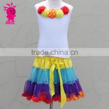 Baby First birthday Outfit Kids Rainbow Skirt Photo Prop Girls White Cotton Tank Top With Rainbow Chiffon Pettiskirt Sets