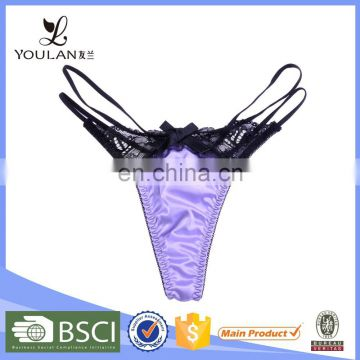 Fancy Design Cute Female Satin Underwear Models Women Thongs