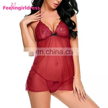 Red Lace Halter Neck Lace Women Sexy Ftv Midnight Hot Lingerie Open Back