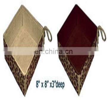 Square Tray jute fabric storage pull string tray