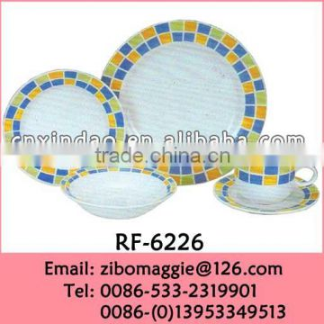 20pcs Round Shape Daily Use Personalized Hot Sale Oversized Ceramic Dinnerware Sets
