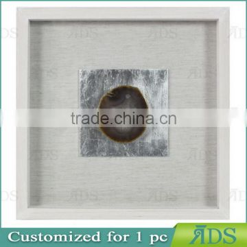 Wooden Shadowbox Frame with Colorful Agate Stone Under Glass