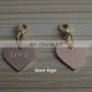 heart metal tag custom laser engraved LOVE zipper Jewelry tag