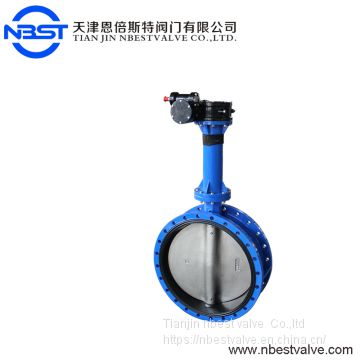 High Temperature Triple Offset Worm Gear Double Flange Butterfly Valve