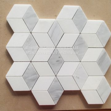 Laminated Natural White Marble Mosaic Tiles for Kitchen Bathroom Wall Border 3D Mosaic