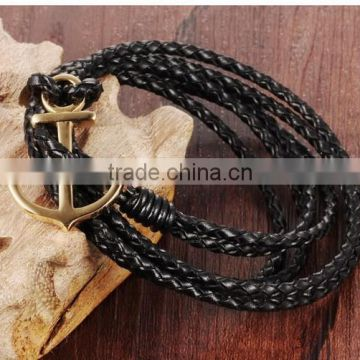 Multilayer handmade woven leather bracelet stainless steel gold boat anchor alloy charms man anchor bracelets