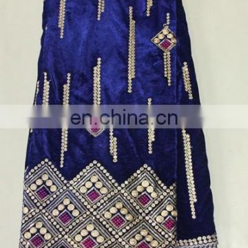 royal blue nigerian velvet lace george fabric