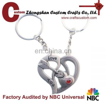 Antique silver plated heart loving keychain