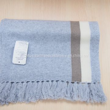 stripe knitting cashmere scarves with fringes (90-CA-13437)