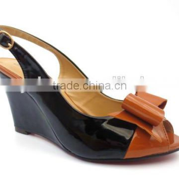black and brown hot sell new model fashion design big bow women ladies girls dress shoes wedge heel