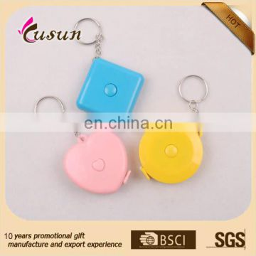 Cheap Promotional Plastic Cloth body mini keychain measuring tape