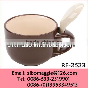 Hot Sale Zibo Made Wholesale Ceramic Mug with Spoon for Personalized Coffee Cup Spoon