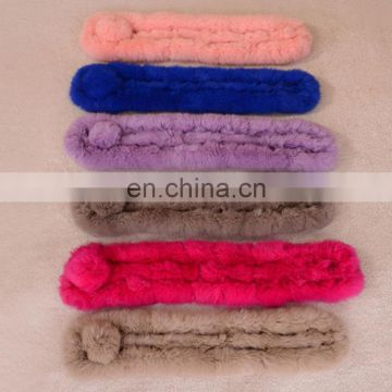 Custom solid color rabbit fur scarf promotional price rabbit fur neck warmer