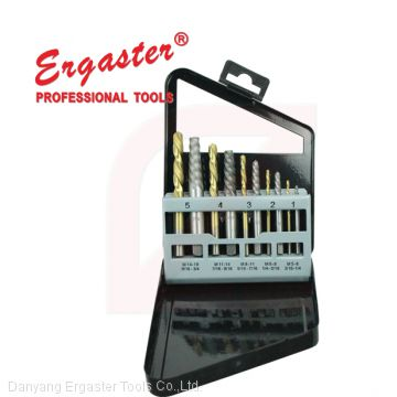 10PCS leaft hand drill bits & broken bolts removers Saca Parafusos set in metal box