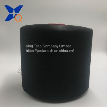 black carbon inside conductive nylon filaments 40D/6F(outer ring) interminging with black polyester DTY filaments 100D