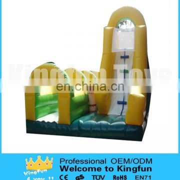 Wet inflatable water slide with pool