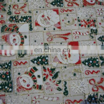 Christmas decoration printed organza with glitter