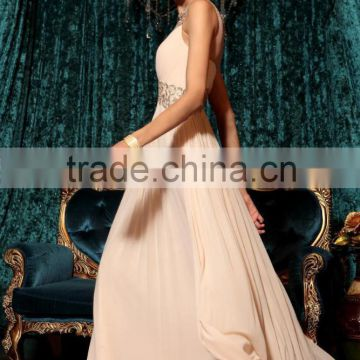 Alibaba Elegant Long New Designer V Neck Pink Color Chiffon Beach Evening Dresses Or Bridesmaid Dress LE21