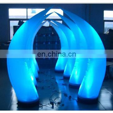Inflatable crescent moon with remote controlled LED light bulb for advertising display