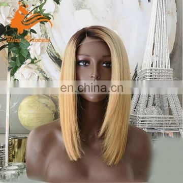Ombre Silky Straight Honey Blonde Human Hair Wig #4t27 Color Long Bob Style Brazilian Hair Full Lace Wig For Black Women