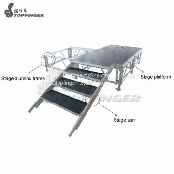Aluminum Portable Non Slip Stage Entertainment Stages for Sale Express Portable Deck 1mx1m