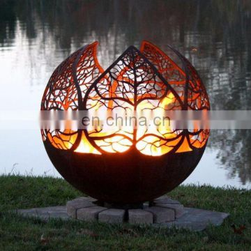 Custom Designed Raw Steel Death Star Fire Pit with 37 Inch Diameter