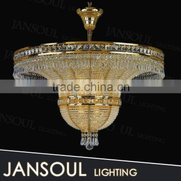 zhongshan lighting factory 2015 new arrival european style empire large crystal chandeliers for hotel living room