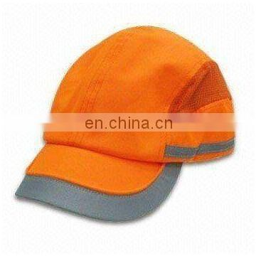 orange High Visibility reflective safety Cap