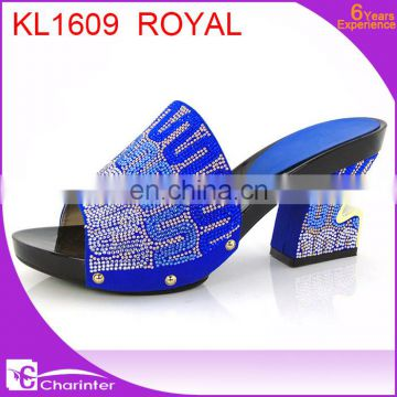 royal blue italian ladies shoes african slipper ladies paty shoes high heel slipper