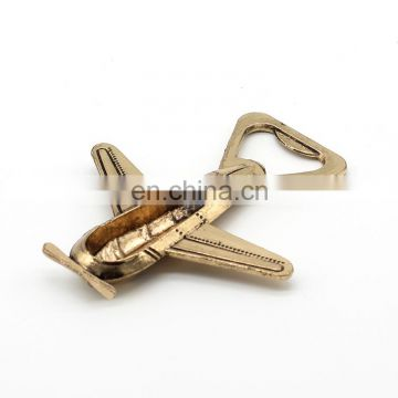 Bronze color good packing wedding gift air plane bottle opener