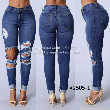 2018 fashion street distressed ripped damaged jeans woman women's high waist lady jeans denim skinny stretch d biker jea