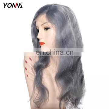 2017 New Design Hand Tied Technique 100% Virgin Brazilian Human Hair Gray Color Lace Front Wig With Baby Hair