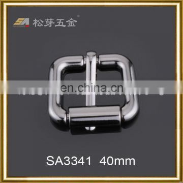 High quality hot sell roller pin buckles black genuine belt