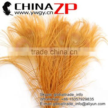 ZPDECOR Crafts Factory Leading Supplier Wholesale Cheap Full Eye Dyed Gold Peacock Tail Feathers