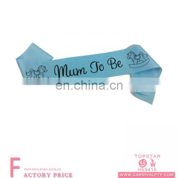 Hot sell wholesale baby shower party supplies sashes mum to be sash for party event supplies